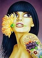 Yiyai 5DDIYダイヤモンド絵画漫画ビッグアイズガールフルラウンド刺繡画像ラインストーンダイヤモンドモザイク家の装飾-ラウンド40x50cm