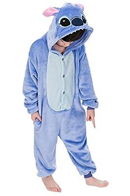 "Dolamen Niños Unisexo Onesies Kigurumi Pijamas, Niña Traje Disfraz Animal Pyjamas, Ropa de dormir Halloween Cosplay Navidad Animales de Vestuario (130-140CM (51 ""-55""), Stitch)"