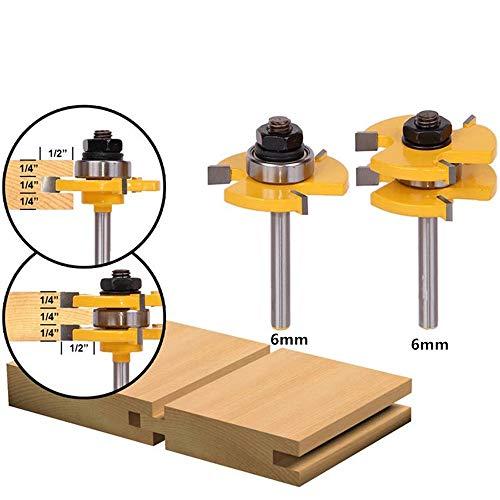 2Pcs Zunge und Nut Fräser Set, 4EVERHOPE Holz Tür Bodenbelag 6mm 3 Zähne Schaft T Form Holz Fräser Holzbearbeitung Werkzeug (2pcs-Shank 6MM * Dia.1-3/8
