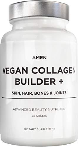 Amen Plant-Based Vegan Collagen Builder Supplement - Organic Whole Foods, Lutein, Vitamin C, Biotin, Lysine, Proline Collagen Boosters - Organic Cranberry, Lemon, Strawberry - Once A Day - 30 Tablets