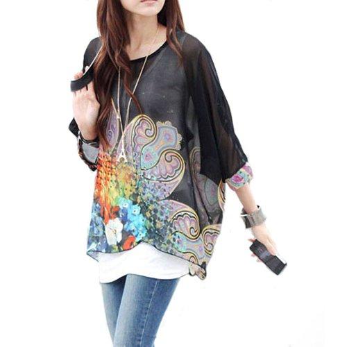 Bohemian Boho Hippie Damen Chiffon Schulterfrei Batwing Bluse Shirt Top