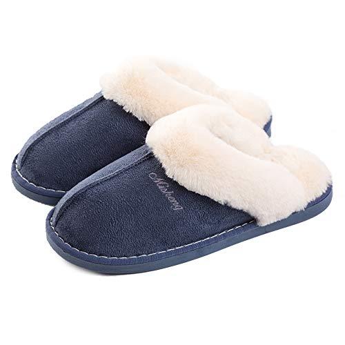 Lastia Damen Hausschuhe Winter Warm Faux Pelz Slipper Weiche Flache Plüsch Pantoffel Rutschfeste Outdoor/Indoor- 36.5/38 EU, Etikettgröße: 270 (40-41) , Blau