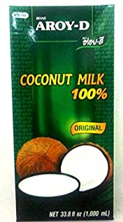 Aroy-D Coconut Milk, 33.8 Fluid Ounce (Pack of 4)