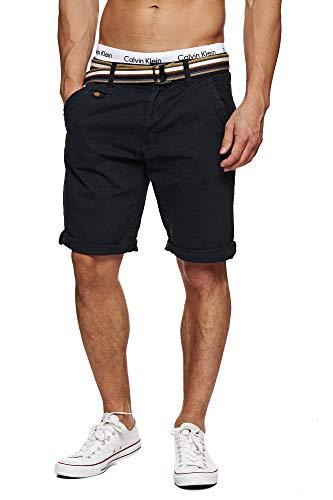 Indicode Herren Cuba Chino Shorts mit 5 Taschen inkl. Gürtel aus 100% Baumwolle   Kurze Hose Regular Fit Bermudas Sommerhose Herrenshorts Short Men Pants Chinohose für Männer New Black L