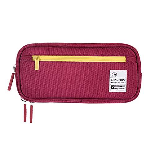 2021 Nueva caja de lápices para estudiantes Papelería Escuela Lápiz Bolsa Zipper Caja de pluma grande Kawaii Boys Grils Lindo (Color : Red)