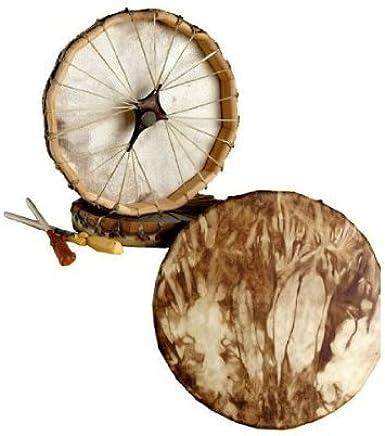 "Native American, Deer Hide/Walnut Stained, Frame Drum 10"""