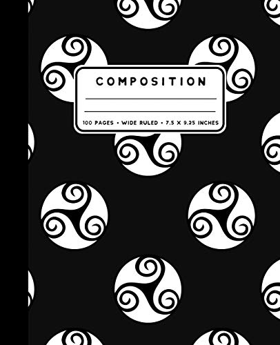Composition: Celtic Triskele Notebook Wide Ruled at 7.5 x 9.25 Inches | 100 Pages | Back To School For Students and Teachers