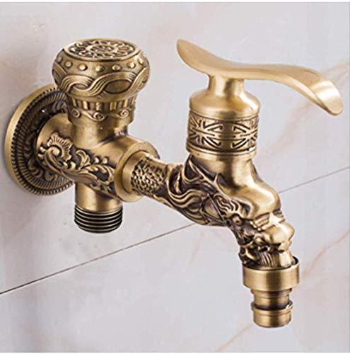 mazhant Antike Kupfer-Dual-Use-Antik Bronze Wandmontage Wasserhahn Bad Dual-Use-Waschmaschine Wasserhahn Outdoor-Garten Wasserhahn Mixer Carving