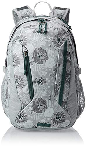 JanSport Women's Agave Backpack - Ideal Daypack for Hiking & School | Internal Sleeve Fits 15' Laptop or 3L Hydrations System | Sleet Silver Vines Print