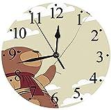 AZHOULIULIU Co.,ltd Oso de Peluche silencioso de Dibujos Animados con Bufanda sosteniendo un Globo Nubes en el Cielo Clipart Reloj de Pared Beige