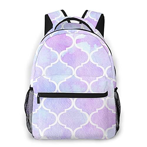 Mochila de lona unisex con azulejos marroquíes de color lavanda y azul unisex para senderismo, mochila escolar, mochila de lona para mujeres y hombres