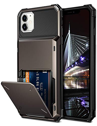 Vofolen Compatible with iPhone 12 Case 5G Wallet 4-Card Slot Credit Card Holder Flip Hidden Pocket Dual Layer Protective Back Cover Compatible with iPhone 12/12 Pro 5G 6.1inch Gun