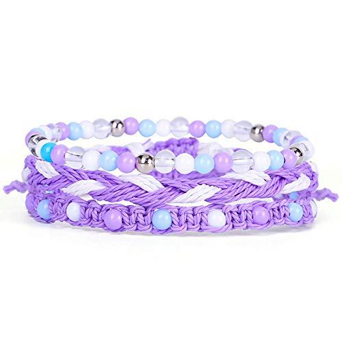 ADGJL Pulsera De Piedra Mujer,7 Cuentas De Piedra Natural Chakra Brazalete Elástico Púrpura Pulsera Trenzada De Cristal Joyería Semipreciosa Multicapa para Mujeres Pareja