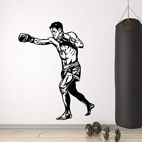 wZUN Boxer Vinilo Pared calcomanía Gimnasio decoración Deportes Gente Lucha Club Fondo decoración Pared Pegatina 63X48cm