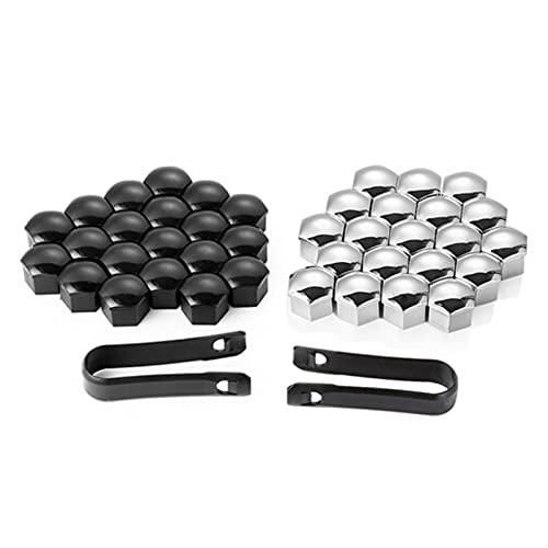 BYWWANG 17mm 20 Uds Tapa de Cubo de Rueda de Coche Universal Color Tapa de Tornillo de neumático Perno de neumático Negro Tapa Decorativa de Bricolaje, para Honda Accord CRV XRV