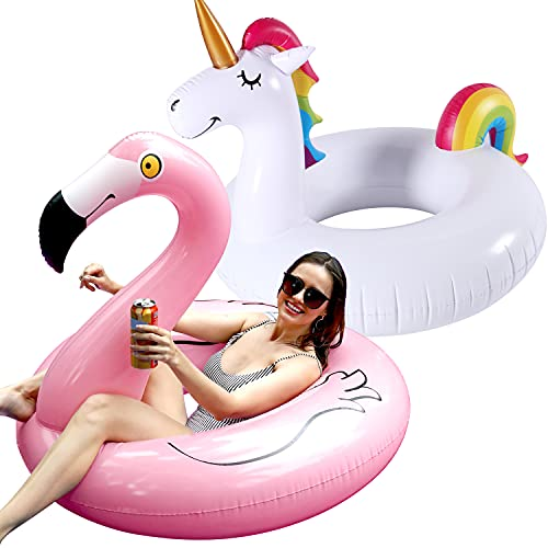 FindUWill 2 Pack 42'' Inflatable Pool Floats Flamingo Unicorn Swim Tube Rings, Beach Floaties, Swimming Toys, Lake and Beach Floaty Summer Toy, Pool Float Raft Lounge for Adults Kids