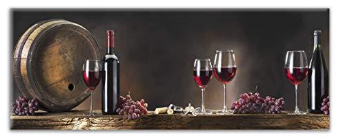 STYLER Wandbild Weinkeller | Glasbild | Küchenbild Wein Weinglas | 4mm Starkes Floatglas | 30 x 80 cm