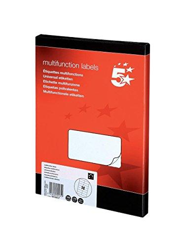 5 Star Labels Laser Copier and Inkjet 14 per Sheet 105x42mm [1400 Labels],...