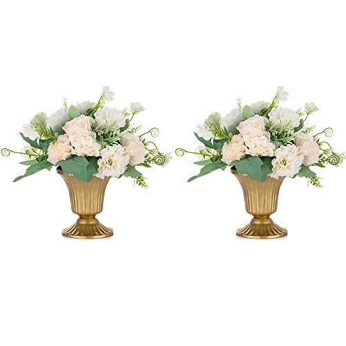 Nuptio 2 Stücke Mini Größe Metall Hochzeit Mittelstücke Vase für Hochzeitsfeier Dekoration, 10cm Hohe Trompete Vase Blumenhalter für Jubiläumsfeier