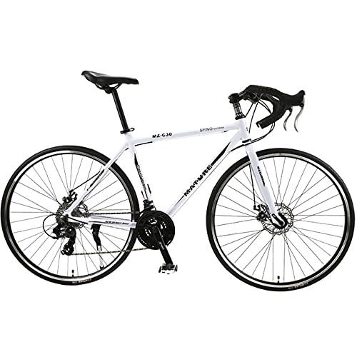 PBTRM Bicicleta Carretera 26,8 Pulgadas 700C 30 Velocidades Aleación Aluminio Velocidad Variable Freno Disco Doble Bicicleta Carretera Ciclismo para Hombres Mujeres,White Black