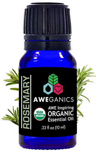 Aweganics Pure Rosemary Oil USDA Organic Essential Oils, 100% Pure Natural Premium Therapeutic Grade, Best Aromatherapy Scented-Oils for Diffuser, Home, Office, Women, Men - 10 ML - MSRP $14.99
