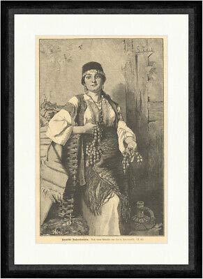 Kunstdruck Bosnische Nußverkäuferin Fortunski Handel Tracht Schmuck Frauen Faksimile_E 6796