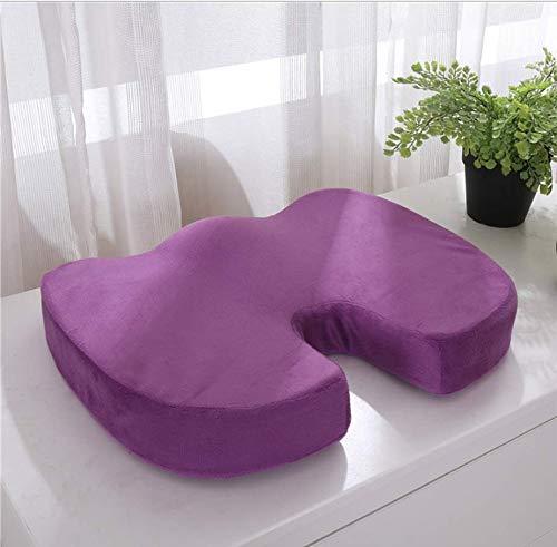 DUIPENGFEI Beautiful buttocks cushion, memory foam cushion, car thickened car cushion, hemorrhoid breathable cushion, purple, 45 * 36 * 7cm