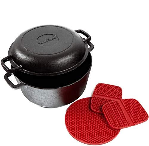 Uno Casa Cast Iron Dutch Oven with Lid - 2 in1 Pre-Seasoned 5 Quart Pot and 1.6 Quart Pan