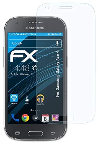 atFolix Schutzfolie kompatibel mit Samsung Galaxy Ace 4 Folie, ultraklare FX Bildschirmschutzfolie (3X)