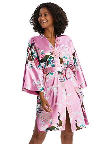 Coucoland damska krótka podomka kimono paw z nadrukiem satynowy kimono kardigan długość do kolan szlafrok na bieliznę nocną imprezę dziewczęcą wesele piżamy przyjęcie