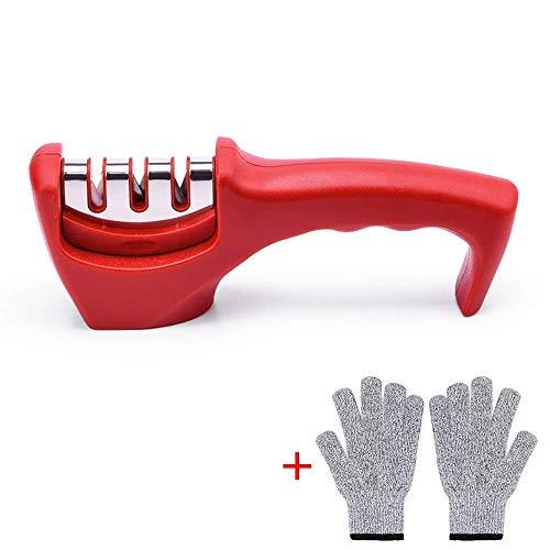 L&WB keukenmes slijpers, professionele 3-in-1 mes slijpen tool helpt repareren, herstellen en polijsten uw keuken messen & schaar, snel & gemakkelijk te gebruiken, snijbestendige handschoenen inbegrepen