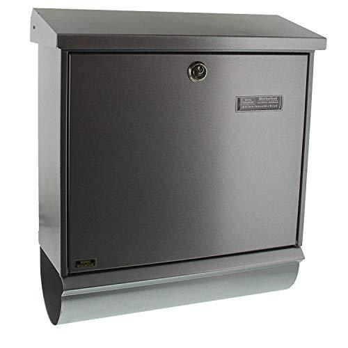 BURG-WÄCHTER, Briefkasten-Set mit integriertem Zeitungsfach, A4 Einwurf-Format, Verzinkter Stahl, Comfort-Set 91300 Si, Silber