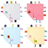 4 Pieces Baby Tag Security Blanket Baby Soothing Plush Blanket Sensory Soft Comforter Blanket Baby Animal Nursery Bed Blanket for 0-12 Months Babies, 9.5 x 9.5 Inch (Grey, Pink, Blue, Yellow)