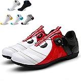 XFQ Zapatillas De Ciclismo De Los Adultos, Adolescentes Unisex Zapatos De Bicicleta Casual Antideslizante No Lock Ciclo del Camino De Zapatos Transpirables De Amortiguación,Rojo,43EU