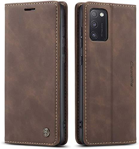 AZONE Handyhülle für Samsung Galaxy A51 Hülle, Premium Leder Flip Schutzhülle Tasche Etui - Kaffee Braun