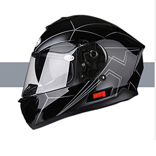 Stella Fella Cascos para hombres y mujeres casco de motocicleta de cara completa con Bluetooth coche eléctrico cuatro estaciones casco de verano personalidad fresco (tamaño: L)