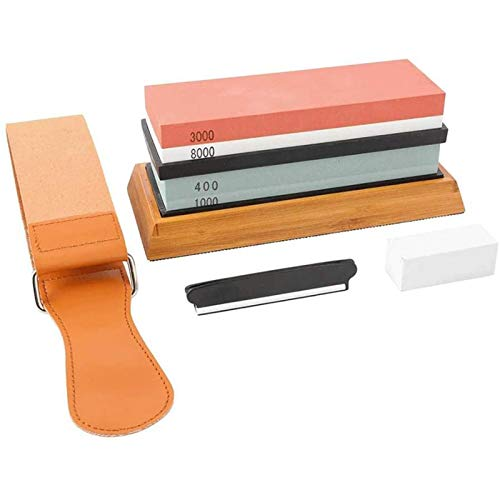 Sacapuntas de cuchillos de Whetstone Grit 400/1000/3000/6000 Sacapuntas de cocina de piedra de acariciamiento de agua con nonslip Base de bambú (Color : Multi)