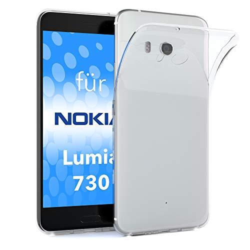 EAZY CASE Hülle für Nokia Lumia 730 Dual SIM Schutzhülle Silikon, Ultra dünn, Slimcover, Handyhülle, Silikonhülle, Backcover, Durchsichtig, Klar, Transparent