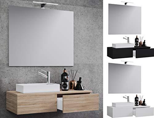 VCM Waschplatz Waschbecken Schrank + Spiegel WC Gäste Toilette Waschtisch klein schmal Gudas Spiegel Schwarz