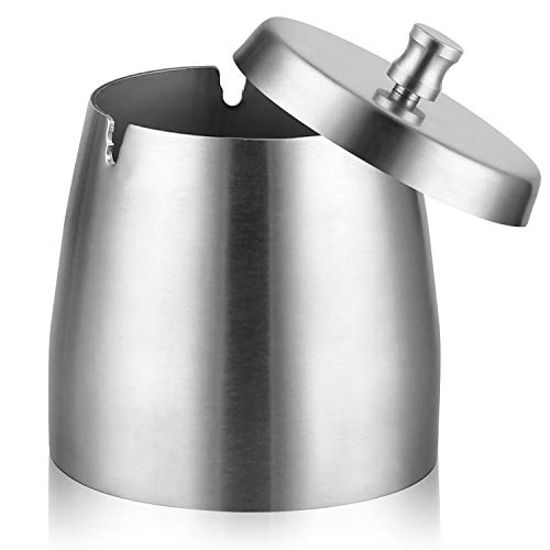 Cigar Ashtray Stainless Steel Car Ashtray with Lid for Indoor Outdoor Big Capacity Windproof Rainproof Thickened Ash Holder for Smokers (Silver Large)