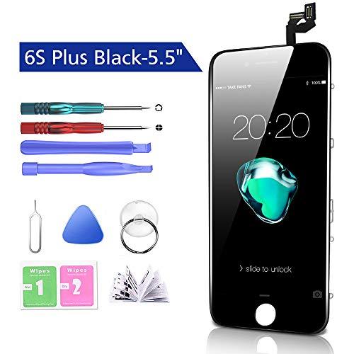 Htechy Kompatible mit iPhone 6S Plus Display Schwarz Ersatz Set LCD Touchscreen mit Reparaturanleitung und Komplettes Kostenlose Werkzeug