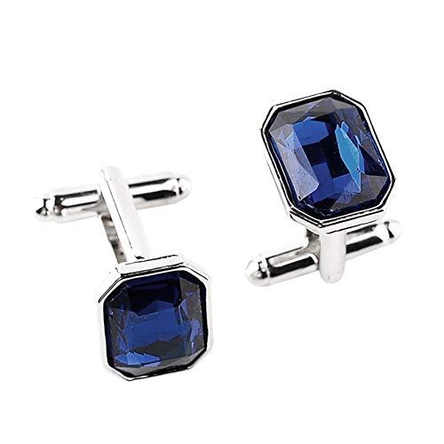JUNGEN Mode Manschettenknöpfe für Männer Frauen Bunte Glas Künstliche Diamant Manschettenknöpfe für Business Hochzeit Hemd Anzug Schmuck Geschenk Size 1.7 * 1.2CM (tiefes Blau)