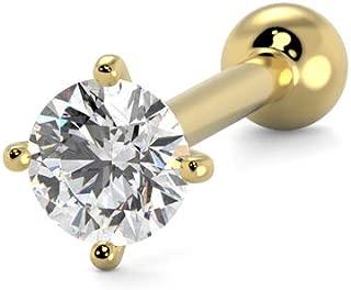 S R SONS Women's Nose Bone Ring Stud 2mm Diamond 14k Yellow Gold 0.03 ct G-H SI 20 Gauge