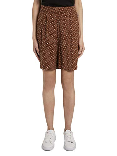 TOM TAILOR Damen Hosen & Chino Loose Fit Bermuda Shorts mit elastischem Bund Brown Geometric Design,40