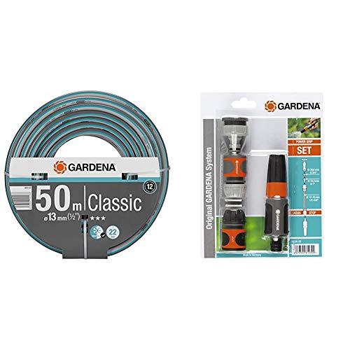 """Gardena Classic Schlauch 13 mm (1/2 Zoll), 50 m: Universeller Gartenschlauch aus robustem Kreuzgewebe & Grundausstattung mit Anschlussteilen für 13 mm (1/2 Zoll)- und 15 mm (5/8"""")-Schläuche"""