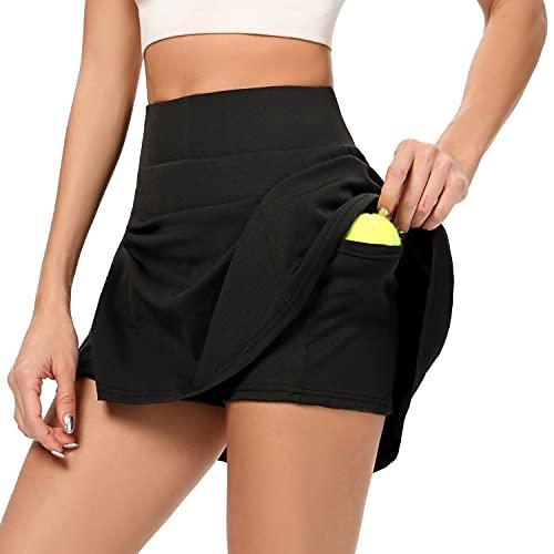AINIC Damen Sportskort Tennisrock mit Innenhose & Tasche Minirock Faltenrock Kurz Skort Athletic Hosenrock Laufenrock (Schwarz, XL, x_l)