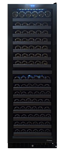 Vinotemp VT-140 TS 142-Bottle Dual-Zone Seamless Glass Door Refrigerator, Wine Cooler, 142 Bottle, Black (Right Hinge)