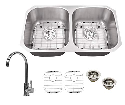 Soleil SS5050P805CP 32-1/4-in x 18-1/2-in 18-Gauge Stainless Steel 50/50 Double Bowl Undermount Kitchen Sink with Gooseneck Faucet in Polished Chrome