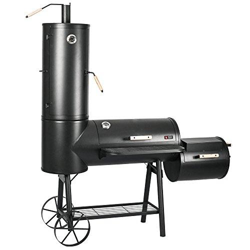 Mayer Barbecue RAUCHA Smoker MS-400 Master Holzkohlegrill XXL Smoker Grill, 2 Deckelthermometer, Massiv 124 kg, Schwarz, 181 x 202 x 73 cm (B x H x T)
