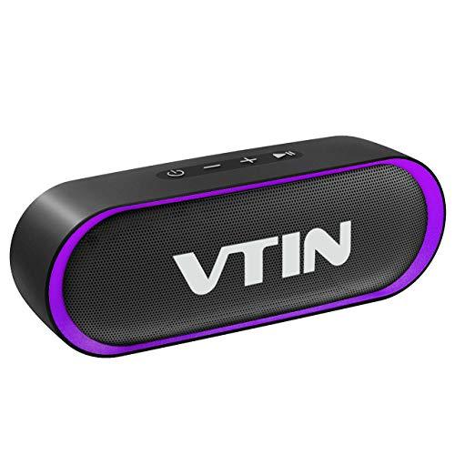 Bluetooth Lautsprecher,VTIN R4 Bluetooth 5.0 Lautsprecher,24 Stdn Spielzeit,10W Dual Treiber Tragbarer Lautsprecher,IPX5 Wasserdichter Außen Lautsprecher,Musikbox Eingebautes Mikrofon,TF Karte